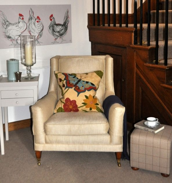 Chair, cushion and table detail